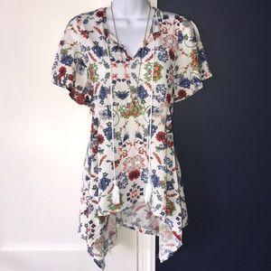 Anthropologie Eden & Olivia White Floral Knit Top